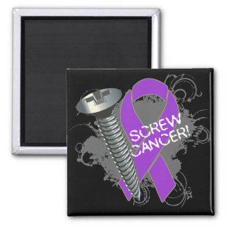 Screw Cancer - Grunge Pancreatic Cancer Refrigerator Magnet