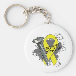 Screw Cancer - Grunge Sarcoma Basic Round Button Keychain