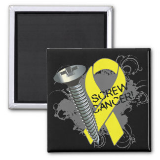 Screw Cancer - Grunge - Testicular Cancer 2 Inch Square Magnet