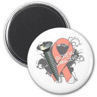 Screw Cancer - Grunge Uterine Cancer 2 Inch Round Magnet