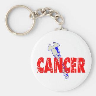 Screw Cancer Basic Round Button Keychain