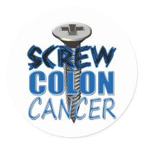 Screw Colon Cancer Classic Round Sticker