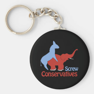 Screw Conservatives Keychain