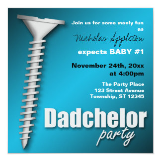 Screw(d) Blue Dadchelor Party Invitations
