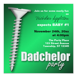 Screw(d) Green Dadchelor Party Invitations