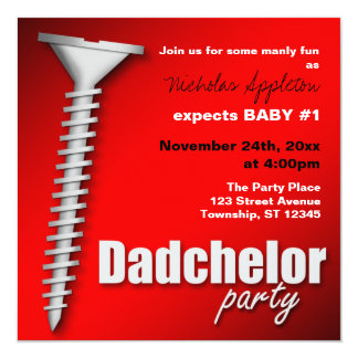 Screw(d) Red Dadchelor Party Invitations