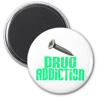 Screw Drug Addiction Light Green 2 Inch Round Magnet
