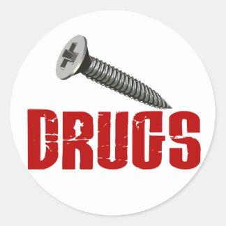 Screw Drugs Classic Round Sticker