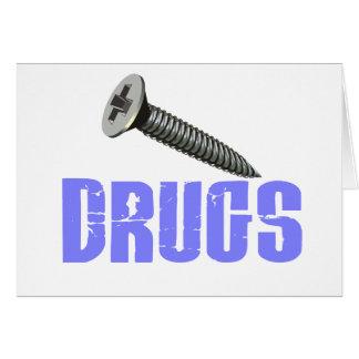 Screw Drugs Light Blue Greeting Card