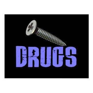 Screw Drugs Light Blue Post Card