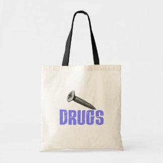 Screw Drugs Light Blue Tote Bags