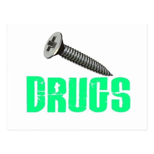 Screw Drugs Light Green Postcard