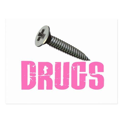 Screw Drugs Pink Postcard