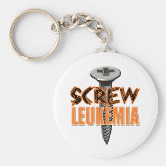Screw Leukemia Basic Round Button Keychain