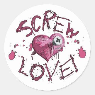 Screw Love Gear Classic Round Sticker