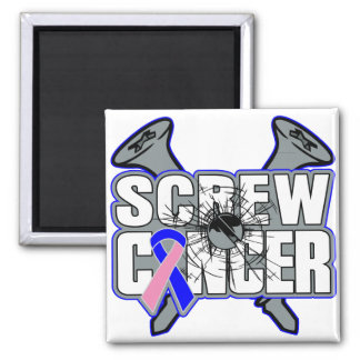 Screw Male Breast Cancer 2 Inch Square Magnet