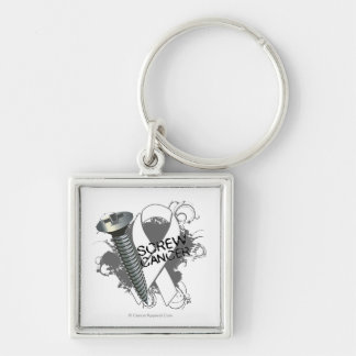 Screw Mesothelioma Cancer Silver-Colored Square Keychain