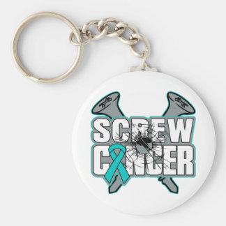 Screw Peritoneal Cancer Basic Round Button Keychain