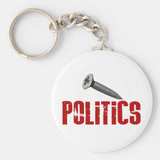 Screw Politics Keychain