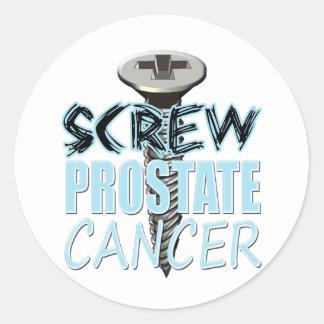 Screw Prostate Cancer Classic Round Sticker