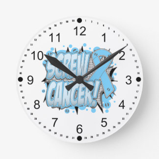 Screw Prostate Cancer Comic Style Clock