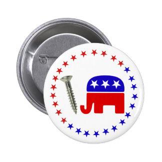 "Screw Republicans Funny Political Rebus 2-1/4"" Pinback Button"