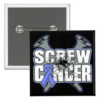Screw Stomach Cancer 2 Inch Square Button