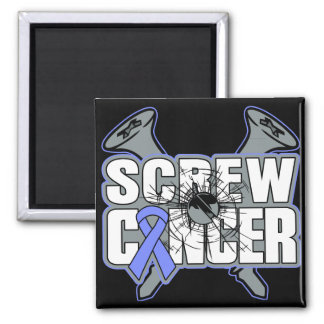 Screw Stomach Cancer 2 Inch Square Magnet