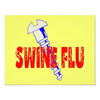 "Screw Swine Flu 4.25"" X 5.5"" Invitation Card"