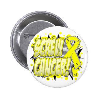 Screw Testicular Cancer Comic Style Pin