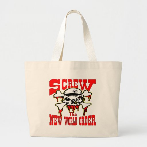 Screw The New World Order Skull Canvas Bags