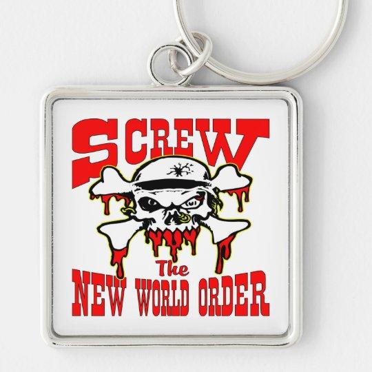Screw The New World Order Skull Keychain