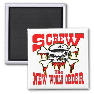Screw The New World Order Skull Magnets