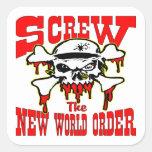 Screw The New World Order Skull Stickers