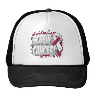 Screw Throat Cancer Comic Style Mesh Hats