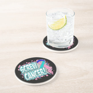 Screw Thyroid Cancer Comic Style Drink Coaster