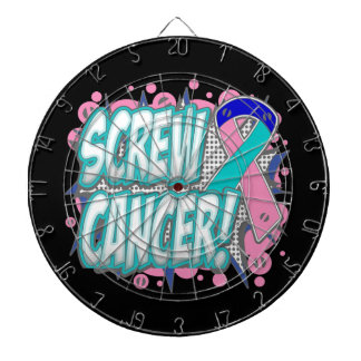 Screw Thyroid Cancer Comic Style Dart Boards