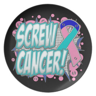 Screw Thyroid Cancer Comic Style Dinner Plate