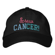 Screw Thyroid Cancer Pink/Blue/Teal Letters Embroidered Baseball Hat