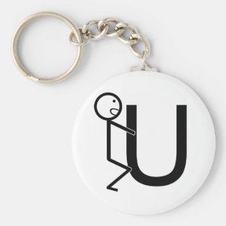 Screw U Funny Stick Figures Basic Round Button Keychain