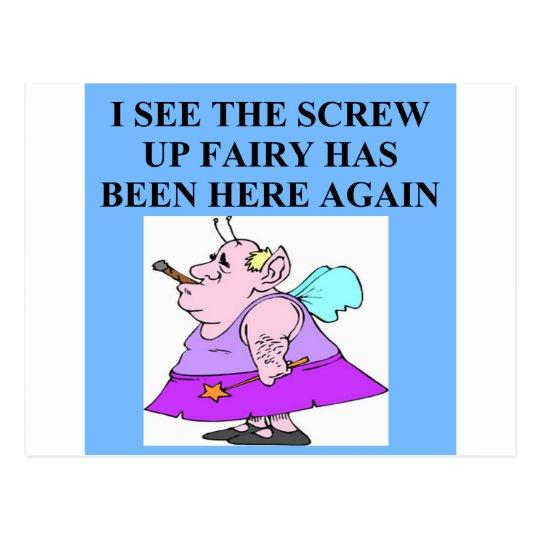 screw up fairy postcard