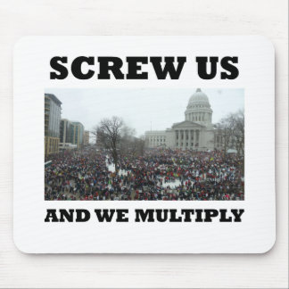 Screw us and we multiply mouse pad