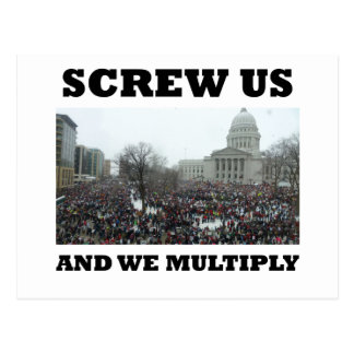Screw us and we multiply postcard