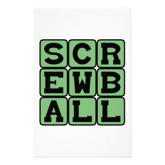 Screwball, Type of Pitch or Comedy Custom Stationery