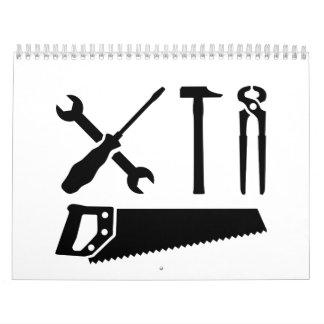 Screwdriver wrench hammer saw calendar