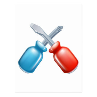Screwdrivers crossed tools icon post card