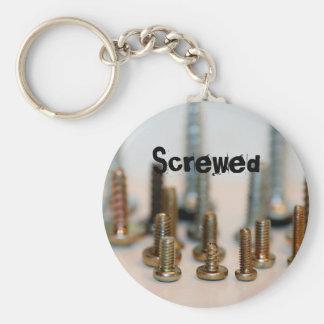 Screwed Basic Round Button Keychain