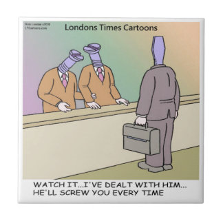 Screwy Salesman by Rick London Funny Tile