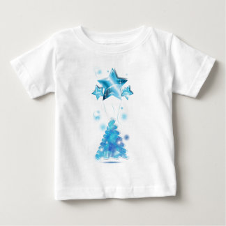 Scribble Christmas Tree with stars balloons Baby T-Shirt