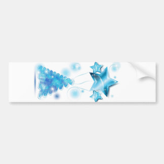 Scribble Christmas Tree with stars balloons Bumper Sticker